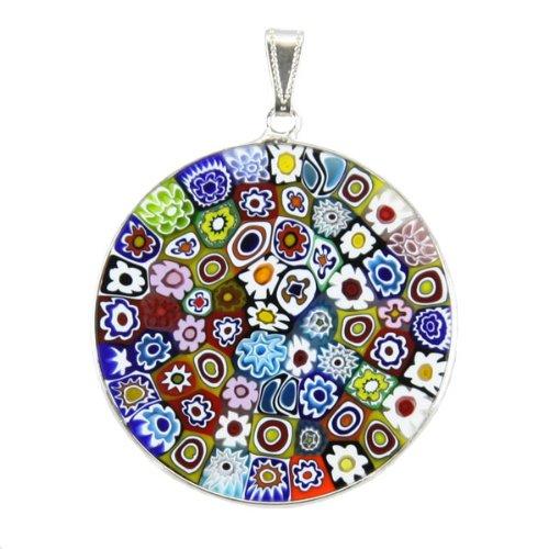 Glass Millefiori Pendant (Murano Glass Millefiori Pendant in .925 Sterling Silver Frame 1-1/2 Inches)