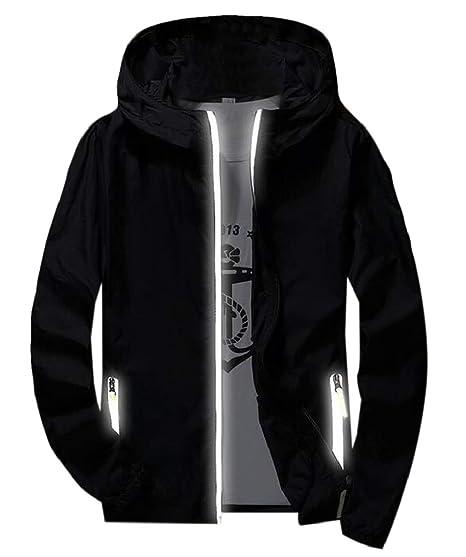 8487747a29f SELX Men Quick Dry Plus Size Coat Hoodie Windbreaker Reflective Jacket  Black US XXS