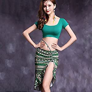 Belly Dance Outfits Women's Performance Modal Pattern/Print 2 Pieces Short Sleeve Natural Top / Skirts , xl