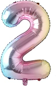 40 inch Rainbow Gradient Colorful Big Size Number Foil Helium Balloons Birthday Party Celebration Decoration Large globos (40 inch Rainbow 2)