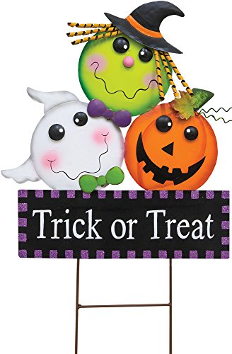 Spooky Character Trick or Treat Metal Halloween Yard Stake Outdoor Decoration (Halloween Sign For Trick Or Treaters)