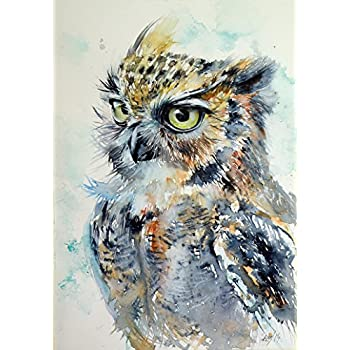 Art Animal Painting Angry Owl Wall Art And Home Decoration, Canvas Art  Print On Canvas