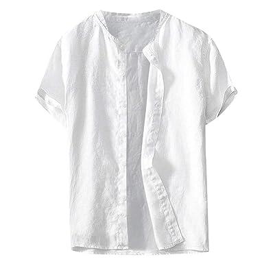 online store 13b8f f353d Camicia Uomo Slim Fit Lino VJGOAL Camicie Uomo Maniche Corte ...
