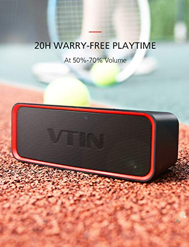 Vtin Portable Bluetooth Speaker with Bass Boost Tech, 14W Loud Stereo Sound & 20H Playtime, Support Two Music Modes, IPX6 Waterproof Outdoor Portable Speaker for Beach/Party/Dance