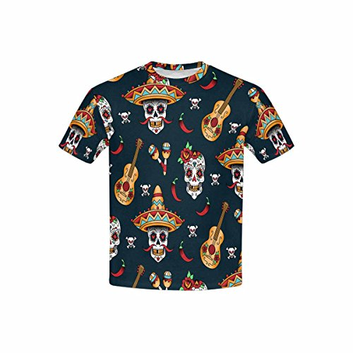 (INTERESTPRINT Youth T-Shirts Skulls, Microphone, Guitar and Red Pepper XS)