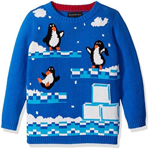 Blizzard Bay Little Boys' Penguin Video Game Sweater, White, Blue Combo, 5 (Kids Ugly Christmas Sweater)