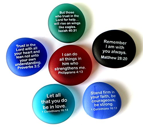 Stone Scripture (Lifeforce Glass Scripture Magnets, Your Favorite Inspirational Bible Verses Printed On Frosted Sea Glass Stones, Attached to Super-Strong Magnets)