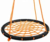 What adults should do before your children playing our web swing? 1. The Round swing should be hung over grass, sand, wood chips or other soft surfaces.Under no circumstances should it be hung over concrete, asphalt or other hard surfaces. Distance f...