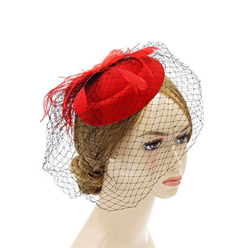 - Wheebo Fascinator Hat Flower Feather Mesh Net Veil Party Wedding Headband for Women Girls (D-Red)