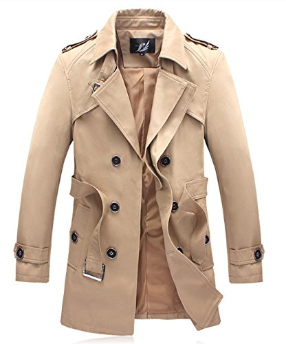 MOGU Men's Double-Breasted Belted Twill Trench Coat US Size 38(Tag Asian Size XXL) Khaki