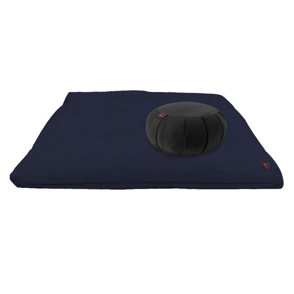 YogavniTM Yoga Meditation Deluxe Studio Grade Kit (set) by Yogavni (TM) (Blue Zabuton and Black Round Zafu with Cotton Filled) by YogavniTM (Image #1)