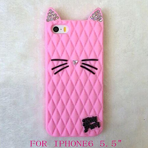 2015 Newes California cat Fruit sister Katy Perry kitty purry Metal Brand Diamond glitter case For iphone4 4s/5 5s/6/6 plus (plus 5.5 Pink)
