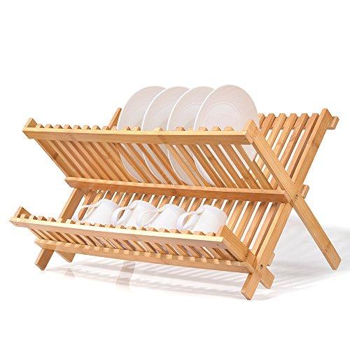 Natural Bamboo Dish Drying Rack, SZUAH Collapsible Dish Plat