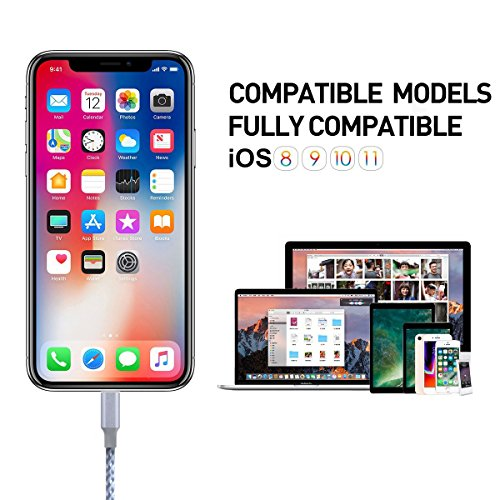 Lightning Cable,QIANXIANG Extra long iPhone Charging Cord,Data Sync,4Pack [3FT 6FT 6FT 10FT]Nylon Braided to USB Charger for iPhone X/8/8 Plus/7/7 Plus/6/6s Plus/5s/5 and iPad etc. (Gray&White)