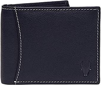 WildHorn Genuine Leather Hand-Crafted Bifold Wallet, Ultra Slim Wallet with 6 Card Slots, Coin pocket and 2 Currency Pockets for ID Card, Credit Card, Business Cards, Cash WildHorn Blue WHW131