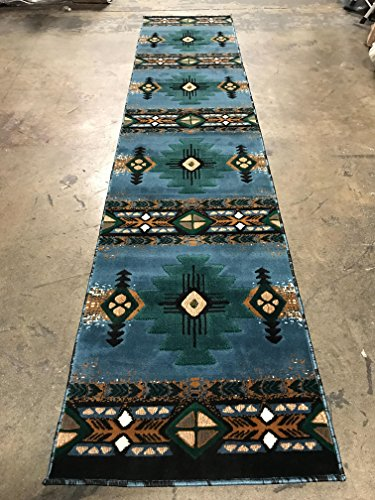 Southwest Native American Long Runner Area Rug Blue & Green Design C318 (2 feet 4 inch x10 feet 11 inch - Rug Tribal Runner