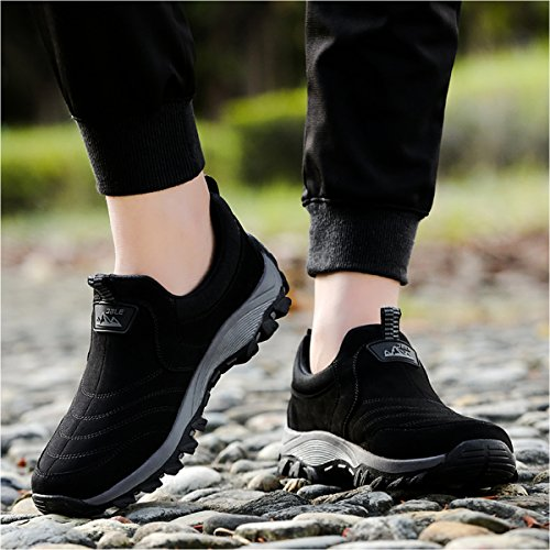 Gracosy Slip On Sneaker, Men Outdoor Hiking Casual Sneakers Shock Absorption Non-Slip Shoes Black