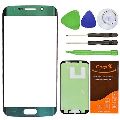 CrazyFire Green Emerald Top Front Outer Lens Glass Screen Replacement For Samsung Galaxy S6 Edge SM-G925 G925A G925P G925T G925V G925R4 G925F With Tools Kit And - Lens Emerald