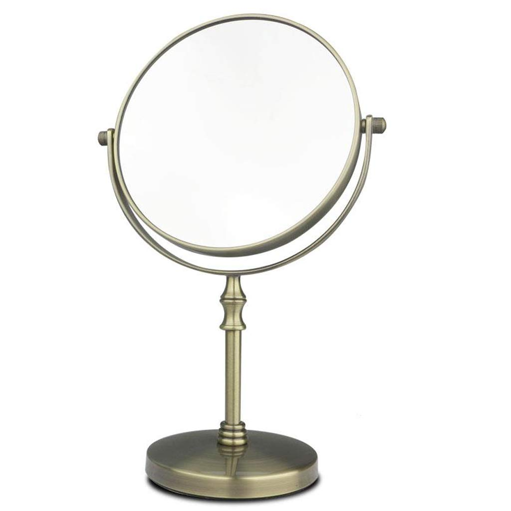 C&Q CQ Makeup Mirror Desktop Double-Sided Dressing Mirror Retro European Beauty Mirror Metal Bronze Color Mirror (Size : L) by C&Q (Image #1)