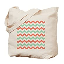 CafePress - Mint And Coral Chevron Pattern - Natural Canvas Tote Bag, Cloth Shopping Bag