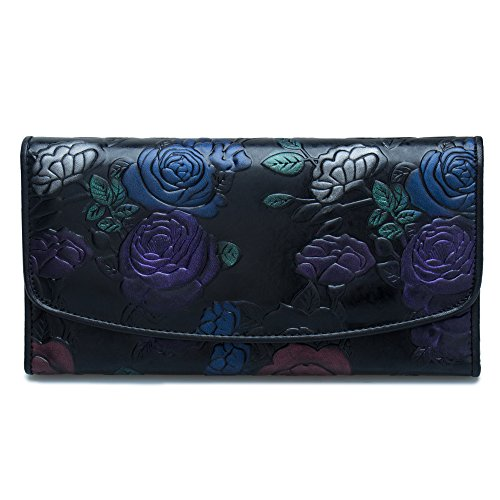 89c2764d8 ZONGSHU Women s Genuine Leather Long Style Vintage Rose Dragonfly Wallets