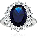 Platinum Plated Sterling Silver Celebrity ''Kate'' Ring made with Swarovski Zirconia Accents, Size 7