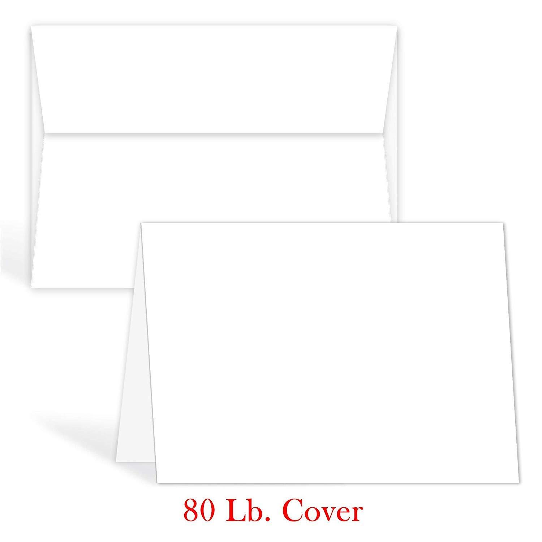 White Blank Greeting Fold Over Cards 80lb. Uncoated, 4 1/2 X 6 Inches Cards - 40 Foldover Greeting Cards Cards and Envelopes
