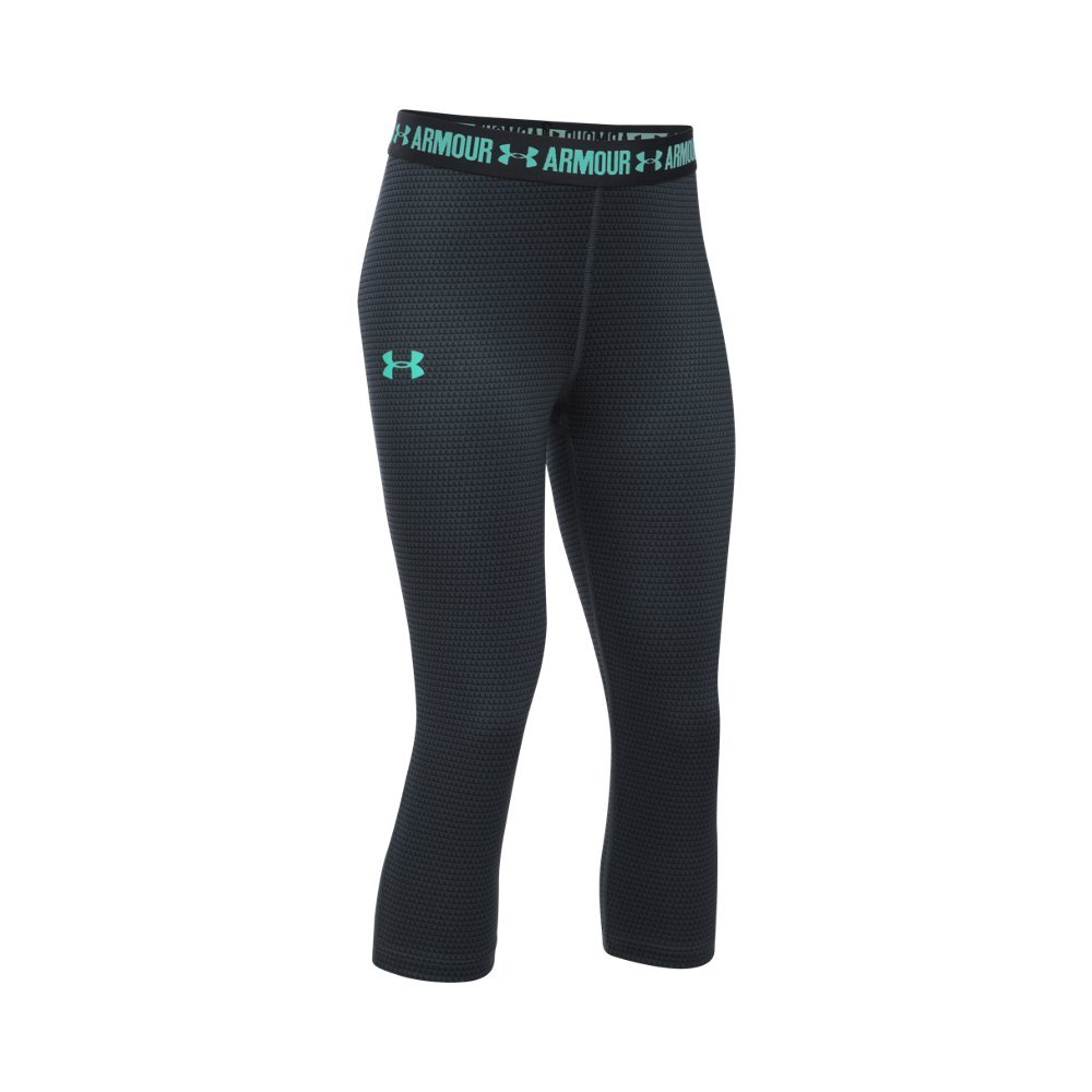 Under Armour Girl's HeatGear Armour Printed Capris, Stealth Gray (012)/Crystal, Youth X-Small