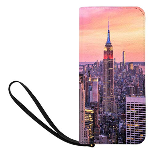 InterestPrint Women's New York City Midtown with Empire State Building At Amazing Sunset Clutch Wallet Handbag for Party Wedding Outdoor -