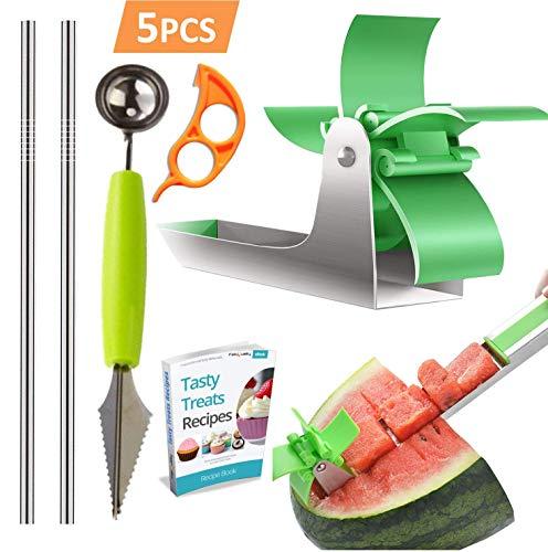 Cutter Vegetable Green - Watermelon Slicer Stainless Steel + Slicer Cutter Knife Corer + 2 Reusable Straws + Orange Peeler - Fruit Vegetable Tools Kitchen Gadgets - No Mess - Less Stress (Green) + eBook
