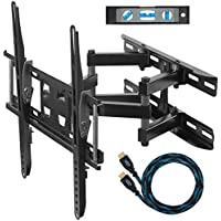 "Cheetah Mounts APDAM3B Dual Articulating Arm TV Wall Mount Bracket for 20-65"" TVs up to VESA 400 and 115lbs, Mounts to Two 16' studs and includes a Twisted Veins 10' HDMI Cable and a 6"" 3-Axis Magnetic Bubble Level"