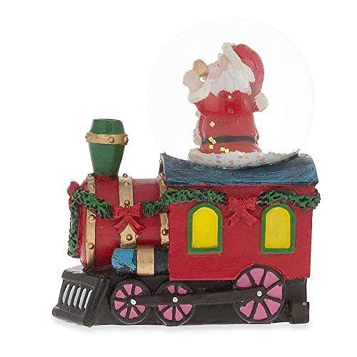 - BestPysanky Santa Ringing a Bell on a Christmas Train Snow Globe