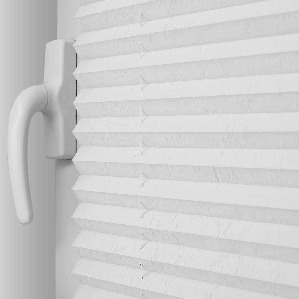Rollo Sichtschutz und Sonnenschutz Blickdicht Sonnenschutz Jalousie f/ür Fenster /& T/ür bobodeco Plissee Klemmfix Faltrollo ohne Bohren Jalousie Wei/ß,90x120cm