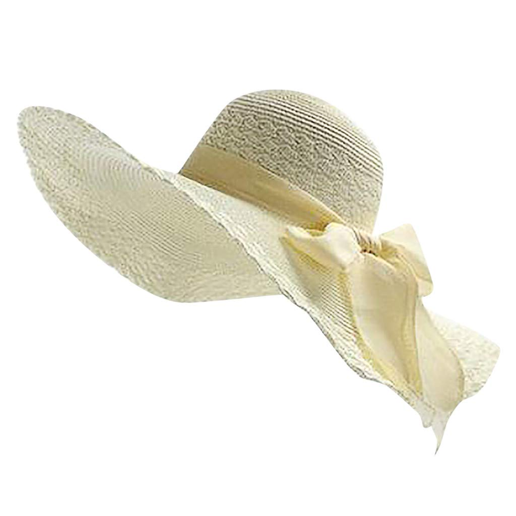 NRUTUP Women Colorful Big Brim Straw Bow Hat Sun Floppy Wide Brim Hats Beach Cap Beige,Free Size