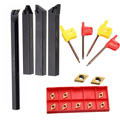 4pcs 12mm Lathe Boring Bar Turning Tool Holder + 4pcsWrench + 10pcs DCMT0702 Carbide -