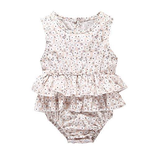 (Baby Romper Floral Print Vintage Infants Ruffles Jumpsuit for Infant 12 Months Baby Girl Pink)