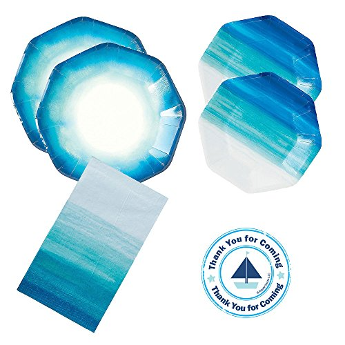 Razzle Dazzle Celebrations Coastal Seaside Ocean theme Party Supplies 16 guests - large and small plates, napkins - Ocean Blue Plate