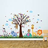 Walplus Wall Sticker Happy Animal Zoo with Grass Skirting Art Decal