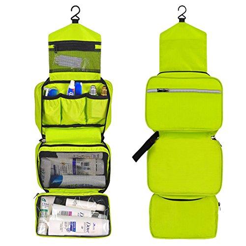 CYBERNOVA Kulturbeutel Kosmetiktasche Reise Kulturtasche toiletbag Waschtasche Wasserdicht, Multifunktionale Kulturbeutel Kosmetiktasche Zum Aufhängen faltbar Aufhängen für Reisen (Gelbgrün)