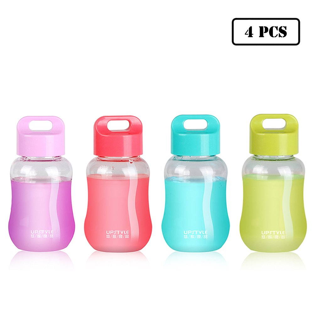 UPSTYLE Mini Plastic Coffee Travel Mugs Water Bottle Sports Water Bottle Cup for Milk, Coffee, Tea, Juice Size 180ml (6oz) Transparent Bottle Pack of 4