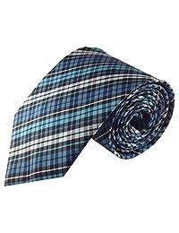 Mens Necktie Turquoise Blue Woven Plaid Fashion Tie