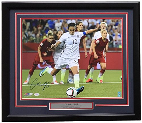 Carli Lloyd USA Soccer Signed Framed 16x20 2015 World Cup Kick Photo PSA