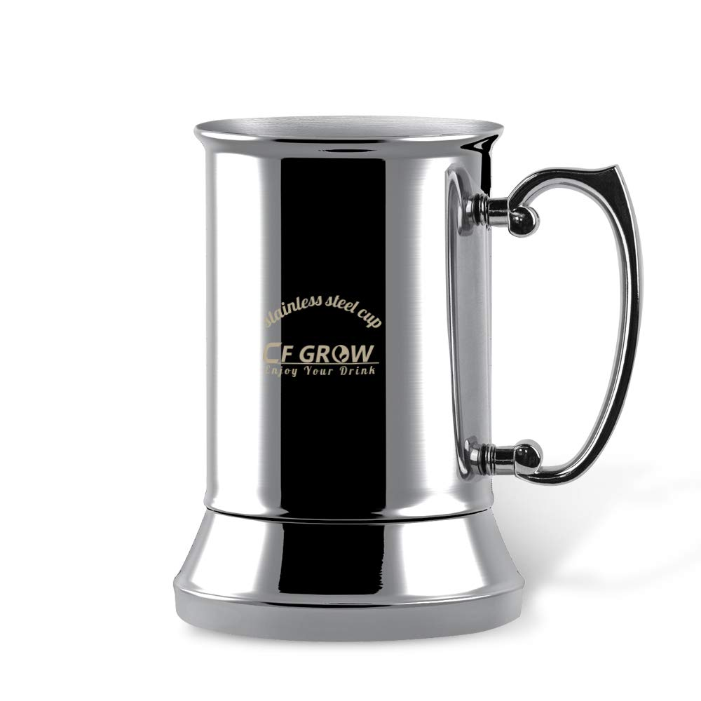 Stainless Steel Beer Mug Stein, CFGROW 17 oz Double Walled Insulated Beer Cup Tea Coffee Mug Tumbler with Handle