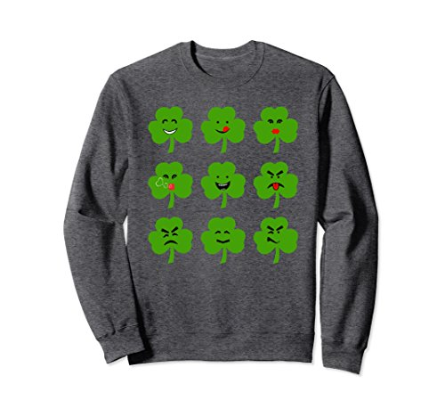 Unisex Set of Faces Funny Expression St Patrick Day Tee Sweatshirt XL: Dark (Face Jumper Set)