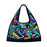 Gym Bag Sports Holdall Abstract Graffiti Hip Hop Heart Canvas Shoulder Bag Overnight Travel Bag for Men and Women