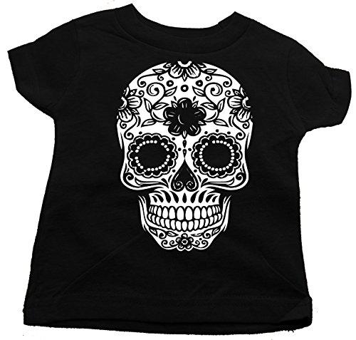 Custom Kingdom Little Boys Mexican Sugar Skull T-Shirt (4T, Black)