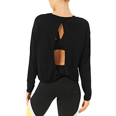 Bestisun Long Sleeve Workout Clothes Yoga Tops Cute Activewear Backless Shirts for Women at Women's Clothing store