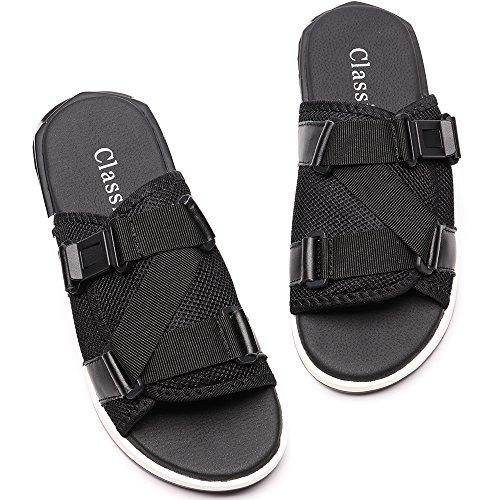 Vilocy Mens Été Glissement Extérieur Sandales Pantoufles Chaussures De Plage Boucle Réglable Peep-toe Flip Flops Noir