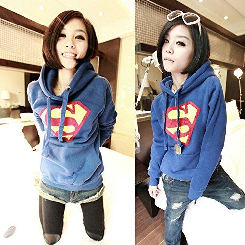 Froomer Women's Casual Superman Hoodie Sweatshirt Lady Hoody Coat Tops Outerwear