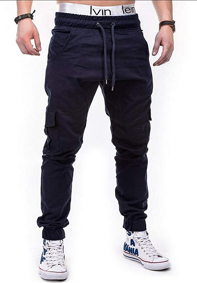 C/&H Men Casual Jogger Athletic Multi Pockets Trousers Cargo Pants